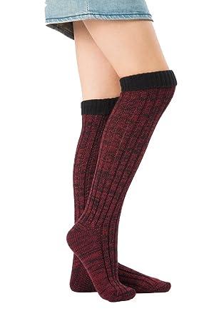 Mujer Calcetines hasta Las Rodillas, Tukistore Mezcla de Colores Calcetines Largos de Punto elásticos Calcetines Altos de la Rodilla Medias de piernas ...