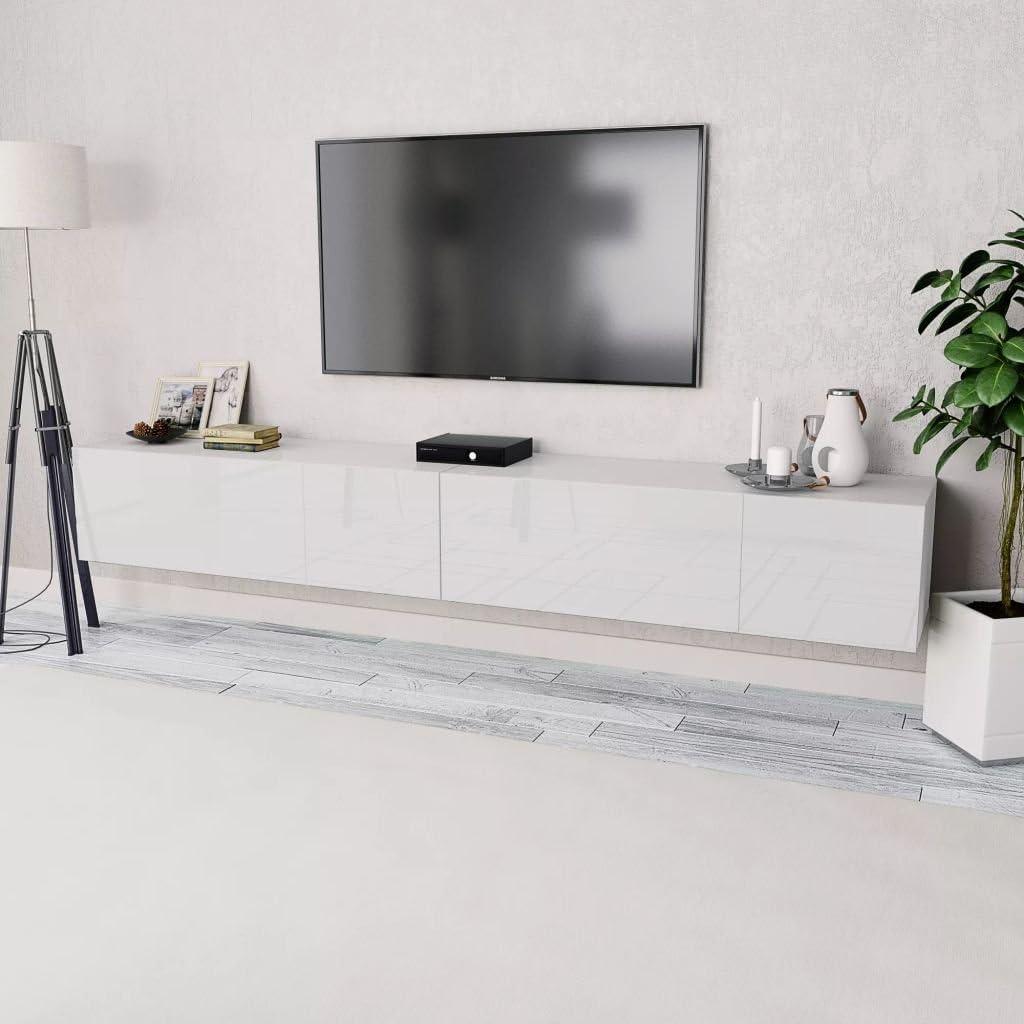 Tidyard 2xMesas para TV Mueble TV Salón Mesa Televisión Mueble Comedor Televisor Bajo de Estilo de Moderno PVC 120x40x34cm Blanco y Roble: Amazon.es: Hogar
