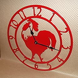 Rooster Wall Clock. Solid Steel. 15 Inch Wide. Quartz Movement. Fire Red Color. Handmade in America.