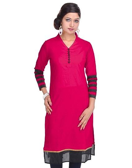 Jaipur Kurti's Pure Cotton Three Quarter Sleeve Red Kurti Women's Kurtas & Kurtis at amazon