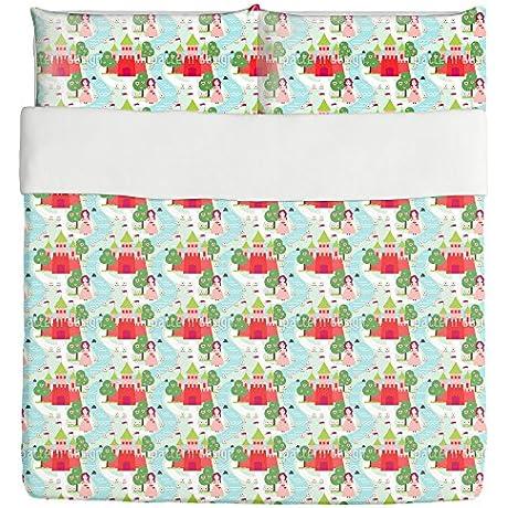 Girls Fairy Tale Duvet Bed Set 3 Piece Set Duvet Cover 2 Pillow Shams Luxury Microfiber Soft Breathable