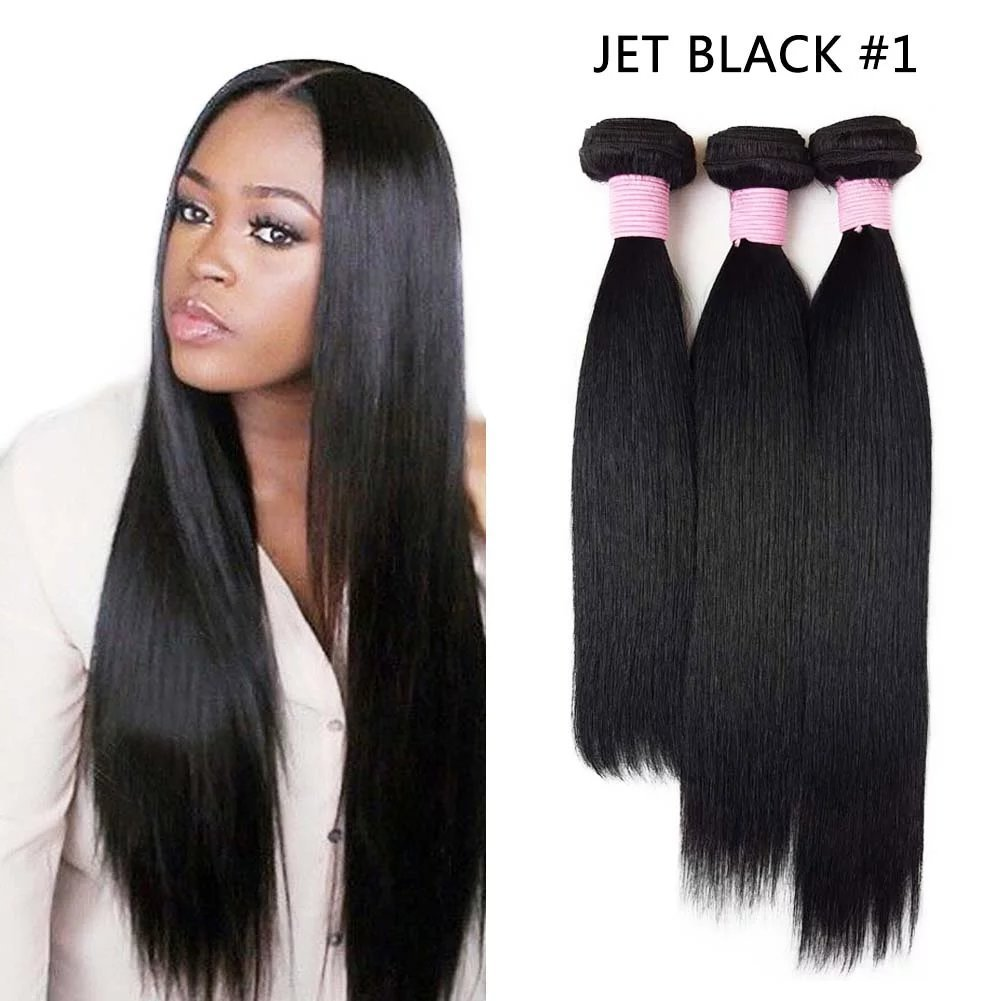SHOWJARLLY #1 Jet Black Hair Bundles 18+18+18 Brazilian Straight Hair Weave 3 Bundles Unprocessed 8A Raw Virgin Straight Brazilian Hair 3 Bundles/Lot