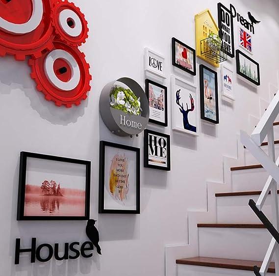 12 Marco de Fotos Escalera Decoración de Pared Combinación de murales, Marco de Madera Maciza, Letras de acrílico 3D Etiqueta de la Pared + Rack + Cesta de Flores de Hierro (sin
