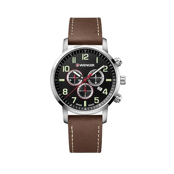 WENGER Reloj Cronógrafo para Unisex de Cuarzo con Correa en Cuero 01.1543.103: Amazon.es: Relojes