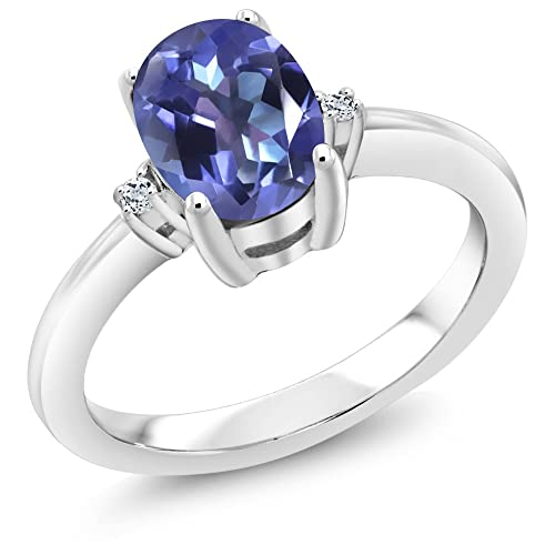Gem Stone King 1.64 Ct Oval Purple Blue Mystic Topaz White Topaz 925 Sterling Silver Ring