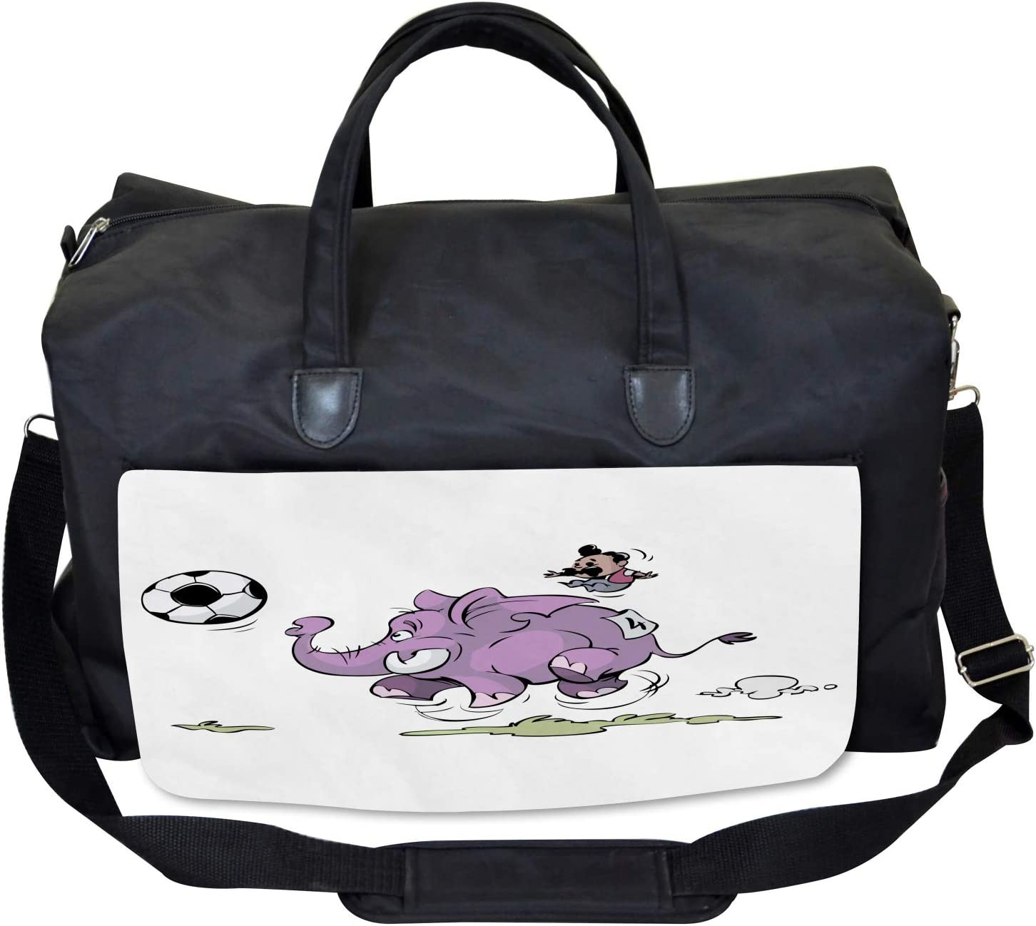 Ambesonne Animal Gym Bag Large Weekender Carry-on Elephant Playing Soccer