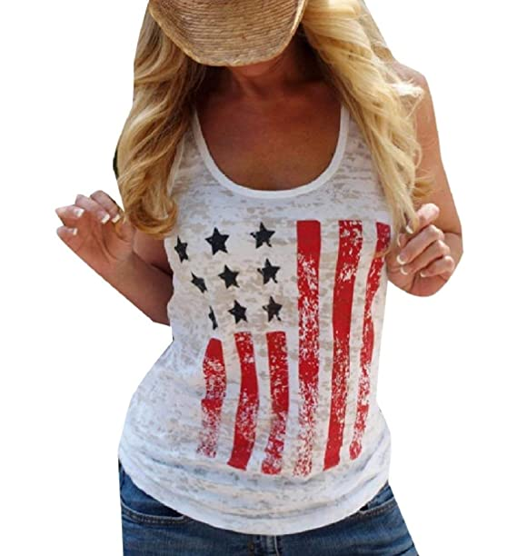 6a1e8d67eb754 Zimaes-Women Basic American Flag Floral Printed Cotton Tees Vests White S