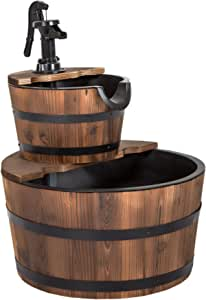 Kinsuite 2 Tier Wooden Barrel Fountain, Cascade Fountain Waterfall with Electric Water Pump, Outdoor Decorative Fountain Suitable for Courtyard Garden Yard Deck, Solid Fir Wood