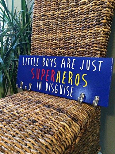 Boys Room Décor - Boys Nursery - Little Boys Are Just Superheroes In Disguise - Kids Room Décor - Kids Wall Art - Kids Coat Rack - Superhero Art - (Little Boys Are Just Superheros In Disguise)