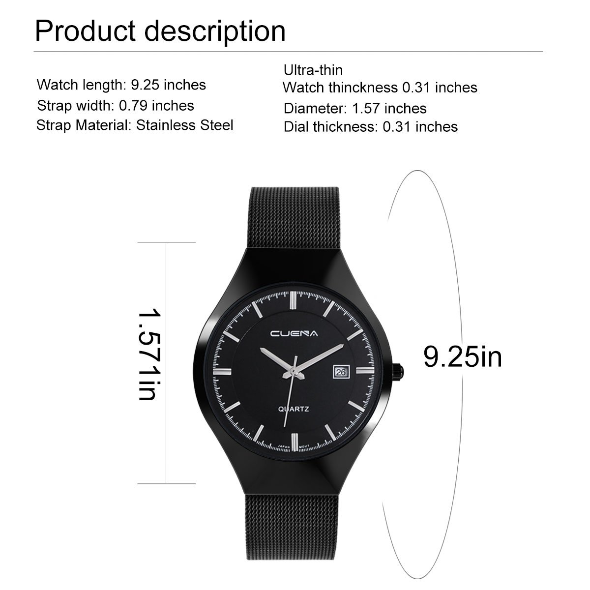 Wrist Watch for Men, Ultra-Thin Casual Business Stainless Steel Men\'s Watch with Date Display by CUENA
