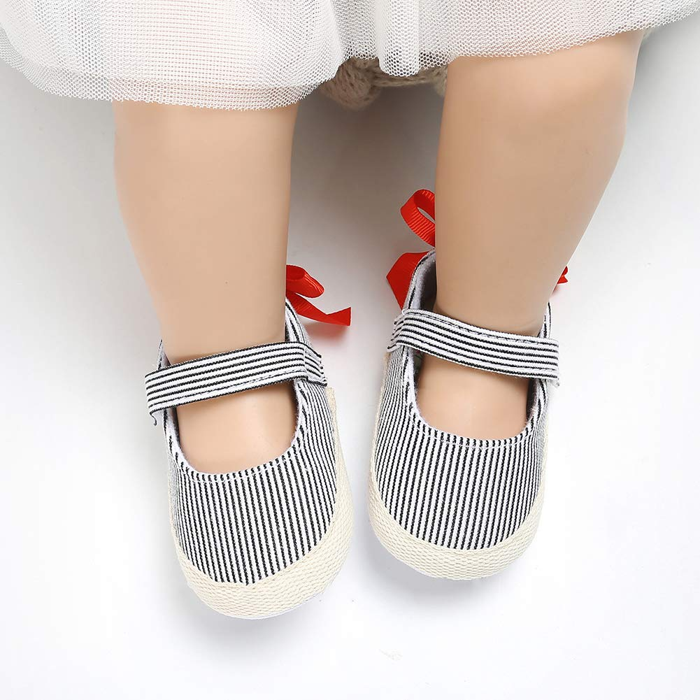 Infant Baby Girls Stripe Bowknot Anti-slip Prewalker Toddler Shoes Butterfly Iron Baby Shoes