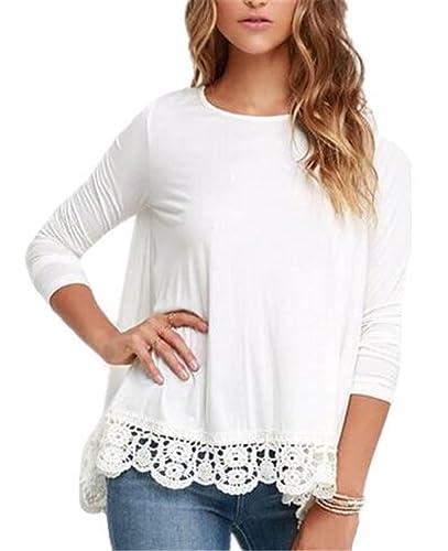 Mujeres Blusas De Encaje Flores Lace Crochet Camisas Camisetas Manga Larga T Shirt TÚNica Tops
