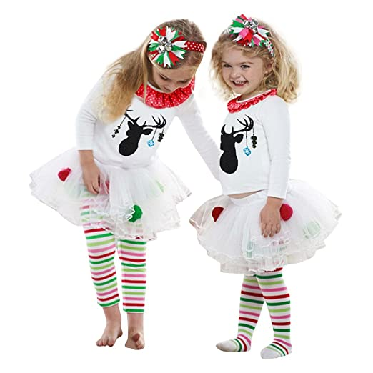 baby christmas outfit 2pcs kids baby girl deer t shirt tops striped tulle tutu