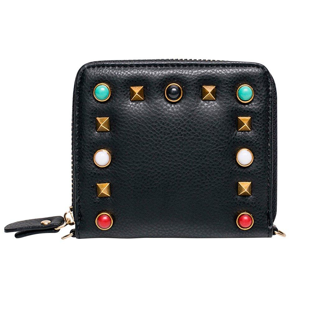 Kukoo Women's PU Leather Wallet Gemstone Rivet Zipper Cross Body Bag