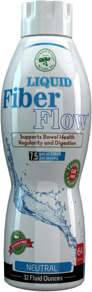 Liquid Fiber Flow Sugar-Free Prebiotic Inulin Fiber Supplement – All Natural Bowel Regularity Drink for Healthy Intestinal Balance (Liquid)