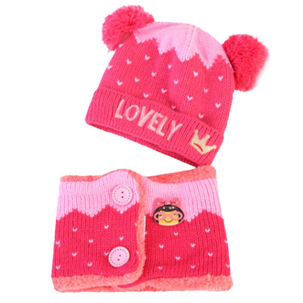 Suit for 1-4 Years old Kids,DIGOOD Boys Girls 2Pcs Lovely Crown Knitting Hat+Scarf