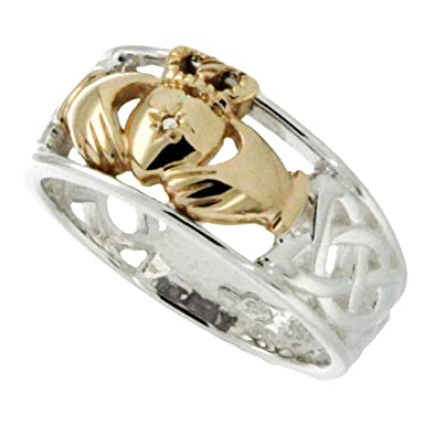 2f9c6913f Irish Claddagh Heart In Hands Sterling Silver Mens Ring By Keith Jack-Size  10