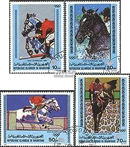 sellos para coleccionistas: Mauritania 699-702 (completa.edición.) matasellado 1980 olímpicos. juegos de verano