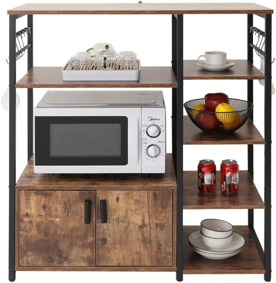 usikey Kitchen Baker's Rack Microwave Oven Stand with 2 Door and 5 Utility Storage Shelves, Small 3-Tiers Bookcase Bookshelf with Cabinet in Living Room, Bedroom, Bathroom Floor Cabinet, YZWJ002F