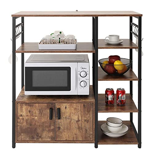 usikey Kitchen Baker s Rack Microwave Oven Stand with 2 Door and 5 Utility Storage Shelves, Small 3-Tiers Bookcase Bookshelf with Cabinet in Living Room, Bedroom, Bathroom Floor Cabinet, YZWJ002F