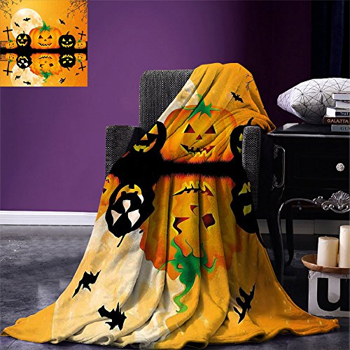 smallbeefly Halloween Digital Printing Blanket Spooky Carved Halloween Jack o Lantern and Full Moon with Bats and Grave Lake Summer Quilt Comforter Orange Black -