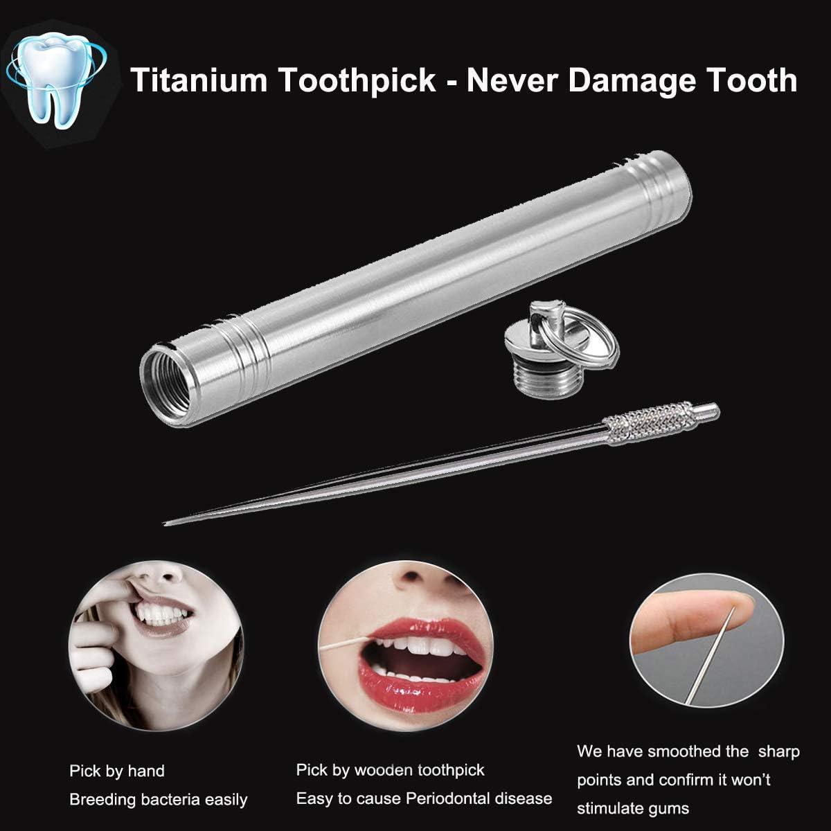 1Set Portable Travel Titanium Metal Toothpick Fruit Pick Holder Cas TDUK WY