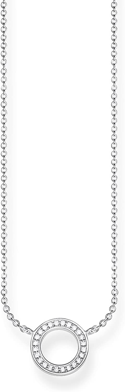 Thomas Sabo - Cadena con colgante de Mujer, Plata de Ley 925 con Circonitas Blancas, Plateado, 45 cm