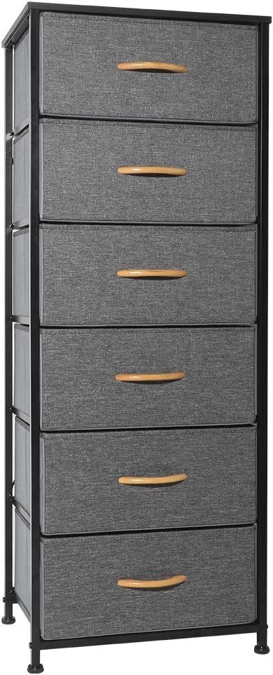 Crestlive Products Vertical Dresser Storage Tower - Sturdy Steel Frame, Wood Top, Easy Pull Fabric Bins, Wood Handles - Organizer Unit for Bedroom, Hallway, Entryway, Closets - 6 Drawers (Gray): Home Improvement