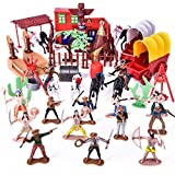 Wild West Cowboys and Indians Plastic Figures Playset, Toy Soldiers Native American Action Figures, Boy's War Game Educational Toys - 60 pcs