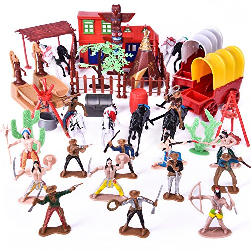 Wild West Cowboys and Indians Toy Plastic Figures, Toy Soldiers Native American Action Figurines, Boy's War Game Educational Toys - 60 pcs (Toy Figurine Plastic)