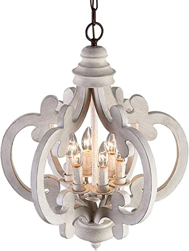 Lovedima Rustic Vintage Iron Wooden Chandelier 6-Light Candle Hanging Ceiling Light