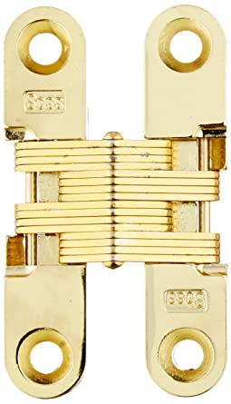 Mortise Mounting SOSS 303 Zinc Invisible Hinge with Holes for Wood or Metal Applications Pack of 2 Satin Brass Exterior Finish