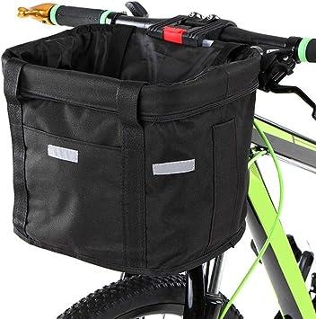 Fewao Cesta delantera para bicicleta desmontable Ciclo Frontal Cesta de lona Bolsa de transporte plegable extraíble para manillar de bicicleta, organizador para mascotas, gato y perro: Amazon.es: Deportes y aire libre