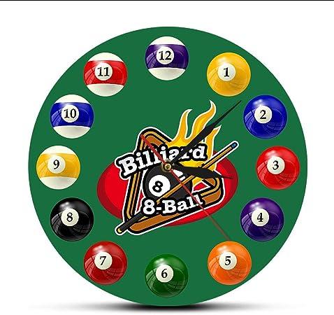 Relojes De Pared Bolas De Billar Reloj De Pared Colorido Pool Snooker Reloj Deportivo Salón De Billar Decoración De La Sala De Juegos Reloj De Pared Moderno Jugadores De Billar Regalo: Amazon.es:
