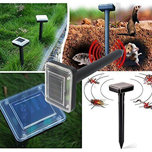 Tloowy 2pc Solar Powered Ultrasonic Sonic Mouse Mole Mice Pest Rodent Chaser Repeller Repellent Yard (Mole Repeller)