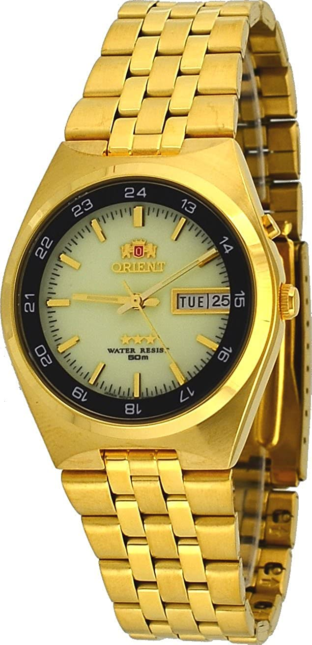 Amazon.com: Orient #FEM6H00GR Mens Gold Tone Sport 50M Tri Star Luminous Dial Self Winding Automatic Watch: Watches