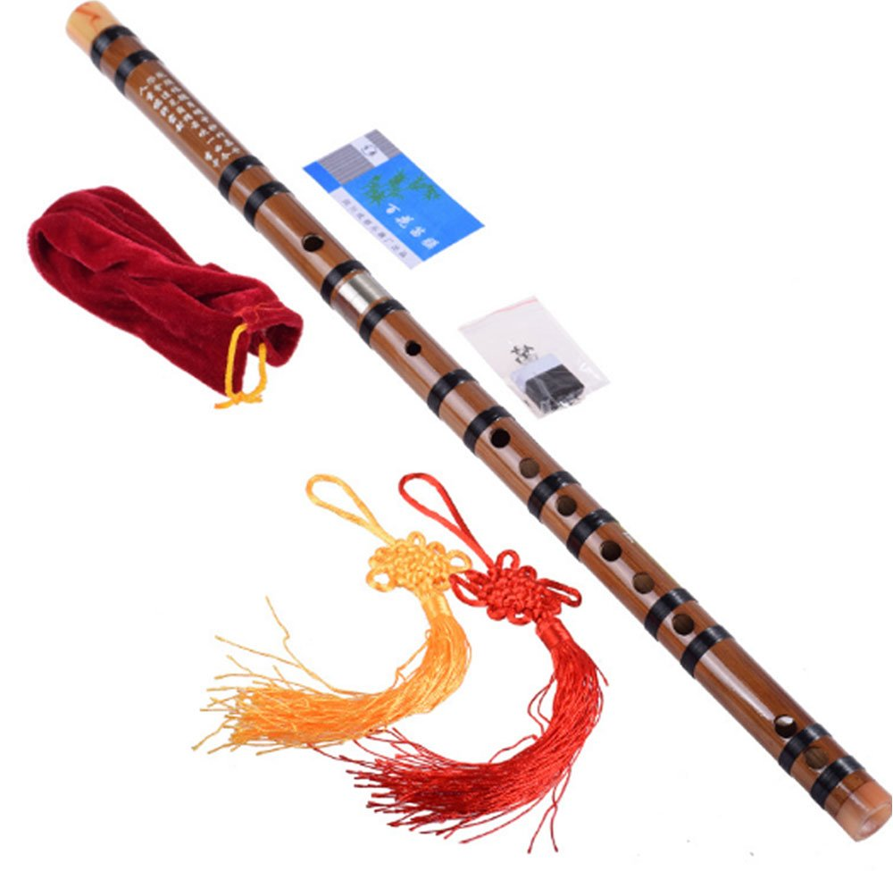 Traditional Handmade Chinese Musical Instrument Single Inset Paktong Bamboo Flute/Dizi,2 Sections (D Key)