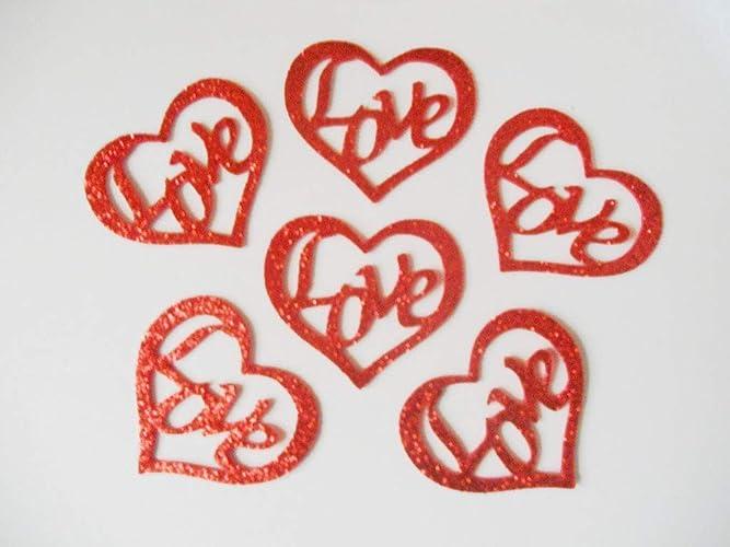6 Corazones Love de goma eva brillante de color rojo de 6 x ...