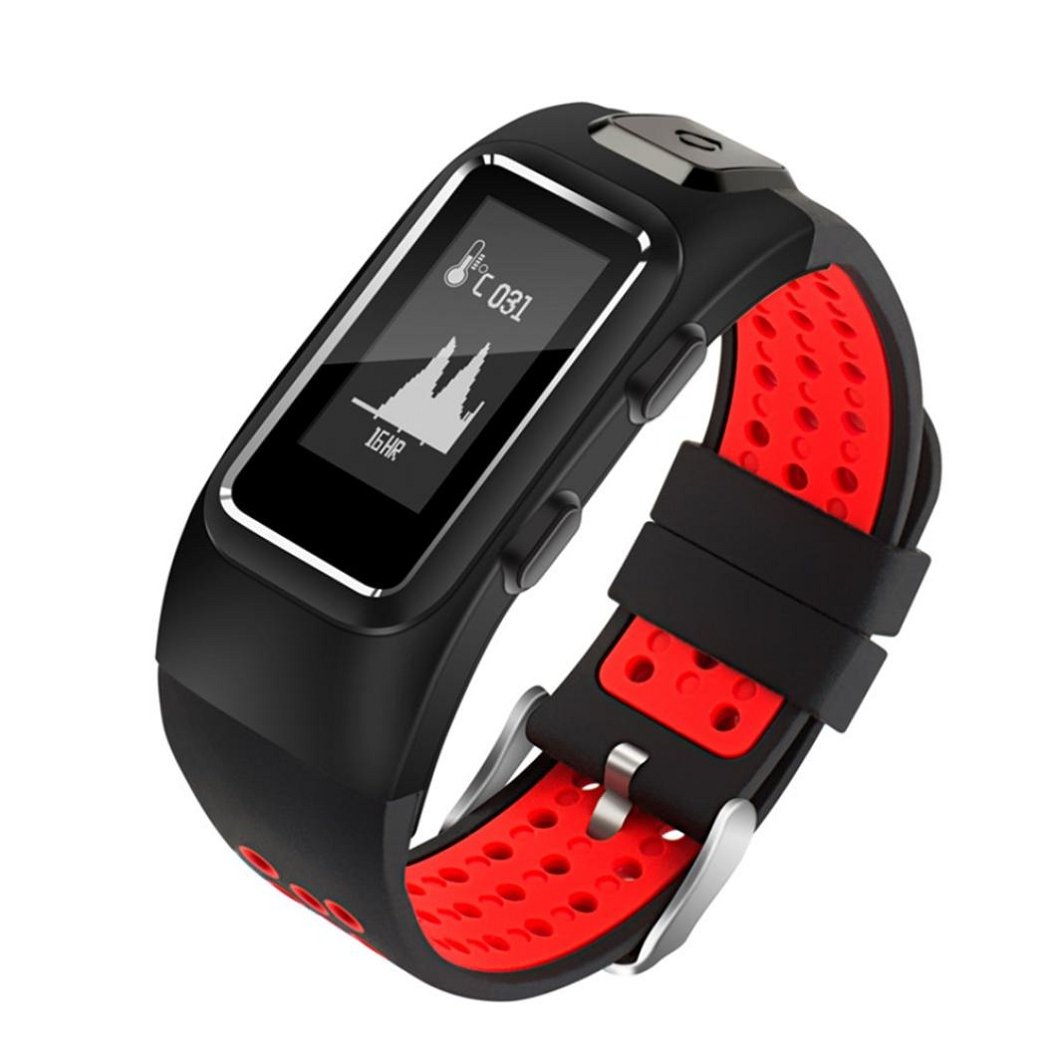 Kinrui GPS Smart Watch Activity Tracker Blurtooth Watch Compatible with iOS and Android (Red)