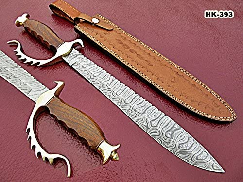 REG-HK-393 – Handmade Damascus Steel 19.00 Inches Bowie Knife – Perfect Grip Rose Wood Handle with Beautiful Brass Guard