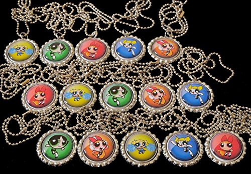 15 POWER PUFF GIRLS Flat Bottle Cap Necklaces for Birthday,
