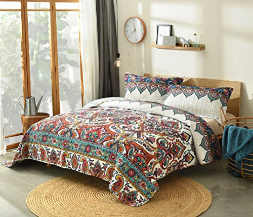 DaDa Bedding Bohemian Paisley Bedspread - Earthy Meadow Quilted Coverlet Set - Multi-Colorful Floral Print - King - 3-Pieces (Moroccan Sets Bed)