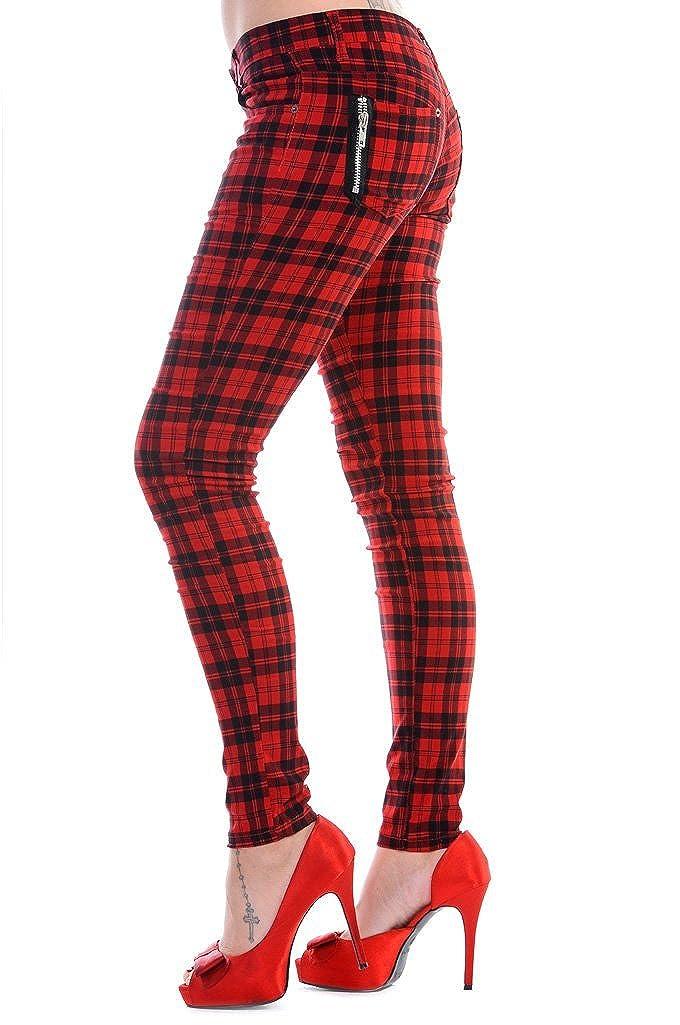 TALLA 40. Punk Prohibido Clothing/Fangbanger tartán Skinny Jeans Cremalleras y Rojo Todos los tamaños