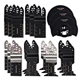 HIFROM Semi-Circular/Bi-Metal/Japan tool Oscillating Multitool Quick Release Saw Blades Fit Fein Porter Cable Black & Decker Bosch Dremel Craftsman Ridgid and more 21pcs
