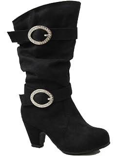Amazon.com | Pauline-39K Jr Girls Slouch Buckle High Heel Mid Calf ...