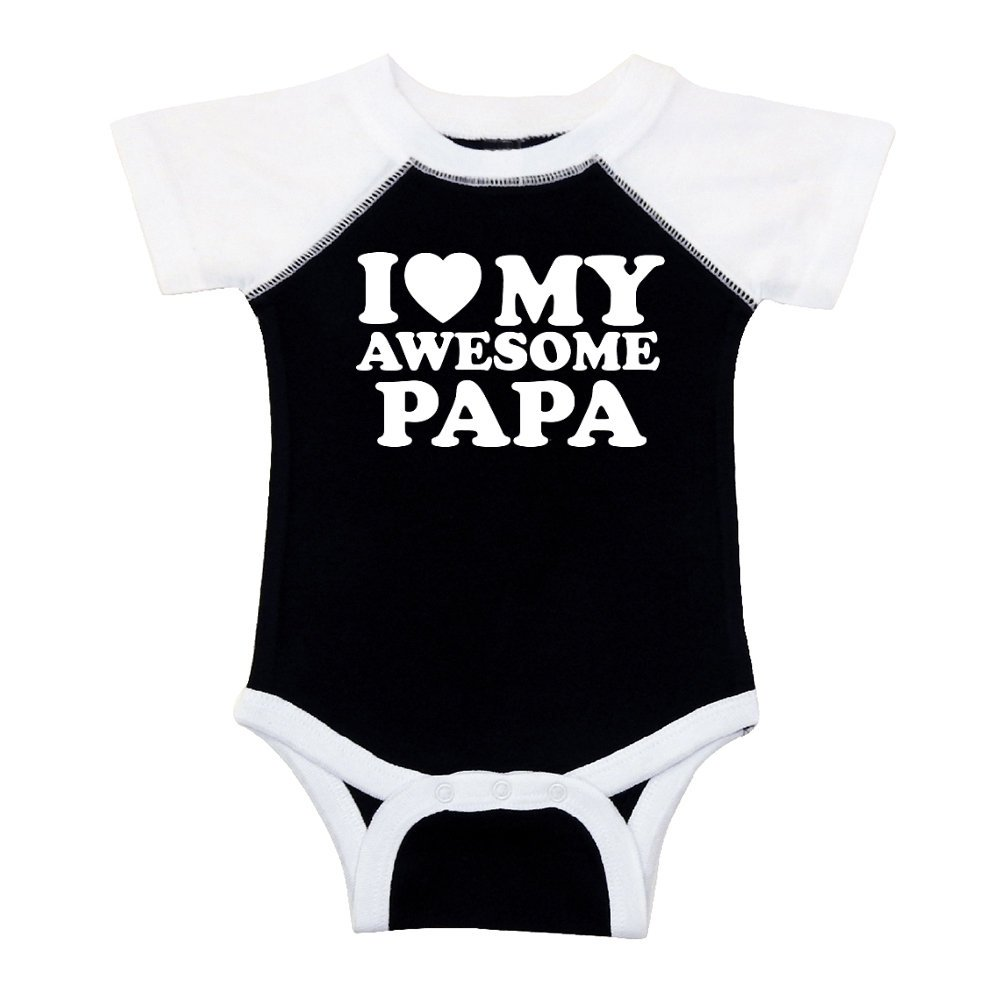 Mashed Clothing Unisex-Baby - I Love (Red Heart) My Awesome Papa - Fun & Trendy - Baseball Style Baby Bodysuit (Black, 6 Months)