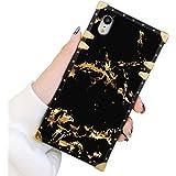 Square Case Compatible iPhone XR Gold Black Marble Luxury Elegant Soft TPU Shockproof Protective Metal Decoration Corner Back