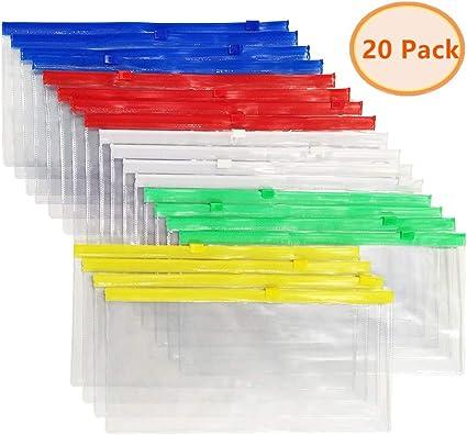 20 sobres de plástico A6 con cremallera, 5 colores, bolsas de cartón, estuche, sobres pequeños, 22,8 x 11,9 cm: Amazon.es: Oficina y papelería