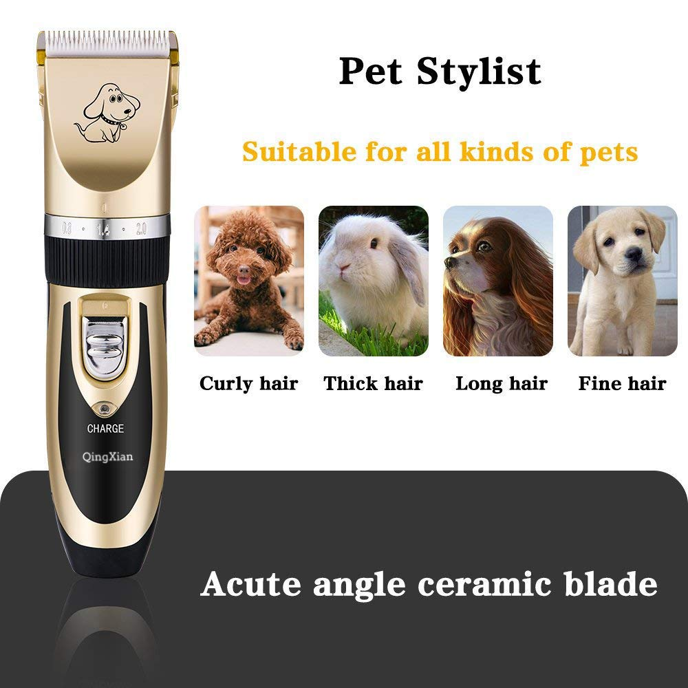 Qingxian Dog Clippers Pet Grooming Clipper Kits Low Noise Rechargeable Cordless Quiet Cat Dog Groomer Tool Professional Hair Trimmer Razor Blades with Combs, Scissor