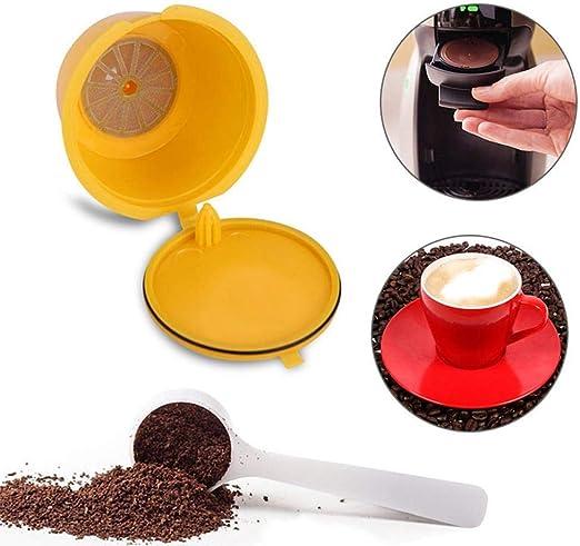 compatible con todos los Dolce Gusto//Genio////Circolor//Melody Paquete de 7 c/ápsulas de caf/é reutilizables rellenables para Nescafe Dolce Gusto tazas de colores con cepillo y cuchara